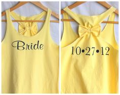 BRIDE Tank top with Bow and Personalized Date by personTen on Etsy, $35.00