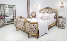 Our fabulous Versailles Curved Luxury Upholstered Bed