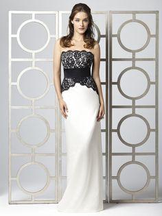Elegant Strapless Black and White Long Evening Dresses for weddings at buytopdress.com#DesignerDress #CheapDress #MaxiDresses #EveningDresses #PlusSizeMaxiDresses #Fashion #PromDress