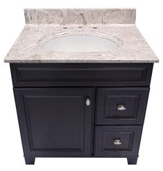 US Marble Cultured Marble Vanity Top. Shown in Brown on White with an Olympus White Integral Bowl.