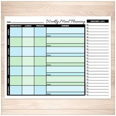 Convenient printable weekly meal planning pages designed with a blue and green color scheme. The days of the week are multicolored to visually separate them. Columns include planning for your breakfast, lunch, snacks, and dinner for each day. Stay on top of the week you're planning for with a place to write the date to which your weekly planner applies. We've provided a section on the right for a grocery list where you can write the foods and ingredients you'll need for the week.