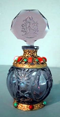 Jeweled Filigree Czech Perfume Bottle
