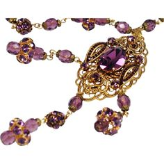 West Germany Purple Rhinestone Crystal Necklace-  A Classic Victorian Beauty for the Ages!