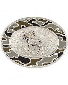 Montana Silversmiths Silver-Tone Winter Camo with Elk Belt Buckle