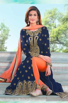 Navy Blue Georgette Salwar Kameez Occasion Party Wear, Wedding Wear, Festival Wear, Ceremonial Color Orange, Blue Fabric Chiffon, Georgette, Santton Discount No Work Embroidered, silk thread, Golden Thread, Stone Time To Ship: 10 to 12 working days #salwarkameez #fashion #design #designer #dresses #trendy #online #shopping #ethnic #gorgeous #wedding #pretty #london #dressing #outfit #ootd #shopkund