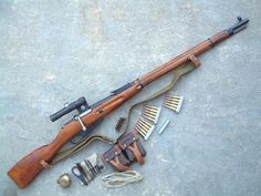 Mosin Nagant Sniper Rifle chambered in 7.62 X 54R,the same round used in the Russian Dragunov today.The round is very similar to the 7.62 X 51 or .308 END