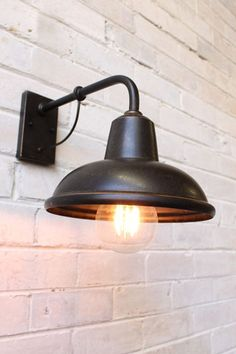 Railway Wall Light. Brown mottle shade IP23 rating. Outdoor wall light - Fat Shack Vintage - Fat Shack Vintage Indoor Wall Lights, Led Wall Lights, Outdoor Wall Sconce, Outdoor Wall Lighting, Shop Lighting, Outdoor Walls, Lighting Ideas, House Lighting, Barn Lighting