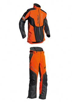 Husqvarna Technical Extreme  Protective Clothing for Forest Work by Husqvarna AB.  Optimum features include preformed elbows and knees, waterproof two-way zippers and a fastener for connecting pants to boots. Reinforced materials on the knees, legs, chest and shoulders meanwhile ensure enhanced safety and comfort.