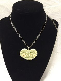 Exquisite Recycled Broken China Green Pattern Heart Pendant by SimpleEleganceCole on Etsy
