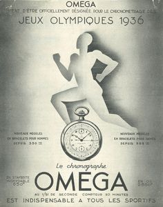 Excellent Omega Watch Company sports chronograph poster referencing the '36 Olympics