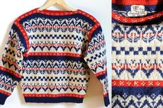 Hand knit Norwegian retro sweater - size small.