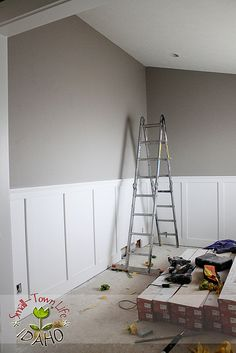 Inexpensive Wainscot How To   I'm all about inexpensive!                    Our Small-Town Idaho Life