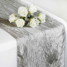 Wholesale Silver Taffeta Crinkle Table Runner For Wedding Party Event Table Decoration Silver Table, Banquet Tables, Wedding Table Decorations, Table Wedding, Wedding Ideas, Different Light, Crinkles, Event Decor, Table Runners