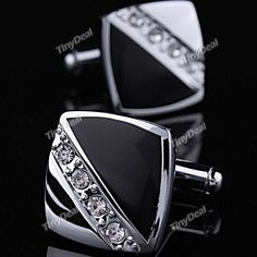 Pair of Square Shaped Shirt Sleeve Button Cuff Button Cufflink Cuff Links with Rhinestones for Men Male N-77107