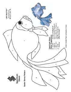 Free Stained Gl Pattern 2179 Lady Blue Fish Mosaic Patterns