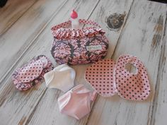 Just Like Mommy  Damask Gray and Pink and Pink and by LimeSewda