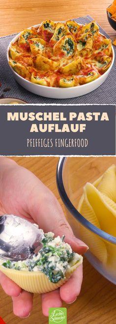 Gefüllte Muschel-Pasta als Auflauf – das perfekte Fingerfood-Rezept.
