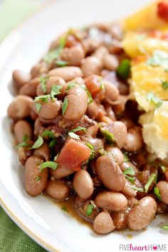 Slow Cooker Charro Beans -- easily modded for instant pot. Crock Pot Slow Cooker, Crock Pot Cooking, Slow Cooker Recipes, Crockpot Recipes, Cooking Recipes, Cooking Corn, Cooking Pasta, Mexican Entrees, Mexican Dishes