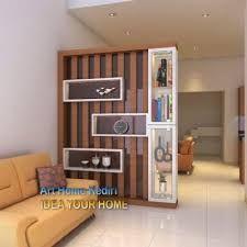 Image result for backdrop candratama Wall Partition Design, Wood Partition, Living Room Partition, Divider Design, Wall Shelves Design, Interior Walls, Home Interior Design, House Main Door Design, Lcd Unit Design