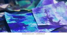 Abstract image of some pieces of paper with ink spilled on them. Abstract Images, Photo Editing, Royalty Free Stock Photos, Cocktails, Ink, Crystals, Paper, Creative, Pictures