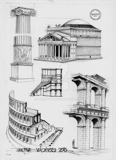 Roman Architecture by dedeyutza on DeviantArt - Although the Romans architectural ideas of structure have always fascinated me, some of their plans - Architecture Drawing Plan, Architecture Drawing Sketchbooks, Architecture Antique, Romanesque Architecture, Roman Architecture, Classic Architecture, Architecture Portfolio, Historical Architecture, Architecture Details