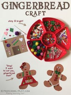 Extension activity for the Giant Golden Book, The Gingerbread Man. #preschool #prek #kindergarten #art #craft #christmas #gingerbread #thegingerbreadman #literacy #prekactivities #preschoolactivities #kidsactivities