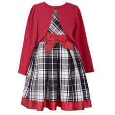 e29733453ee Bonnie Jean Big Girls Red Ribbon Accent Plaid Bolero Christmas Dress 7-16  Dress With