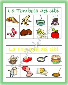 La tombola degli alimenti: giochi da tavolo fai da te It will be bad weather (it has been raining for 4 days: -S), it will be cold, it will be short days but, lately, Piccolo Furfante and I have Board Games For Kids, Learning Italian, Food Crafts, Baby Feeding, Bingo, Preschool, Teaching, Education, Holiday Decor