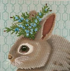 Love the stitches by Suzie Parrett Vallerie, needlepoint canvas by Melissa Shirley of Vicki Sawyer art