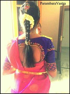 Hair styles Saree Hairstyles, Indian Bridal Hairstyles, Bride Hairstyles, New Blouse Designs, Bridal Blouse Designs, Saree Blouse Designs, Bridal Hair Dressing, Engagement Hairstyles, Maggam Work Designs
