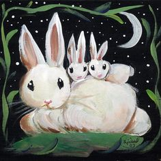 Bunny Rabbit Family by Sylvia Pimental (900×900) bunnies, rabbits, easter, night -- this is large enough for both games, but I decided the simple lines and colors would probably be best in CW.  Feel free to use in both if you like.