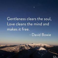 """""""Gentleness clears the soul, love clears the mind and makes it free"""" - David Bowie"""