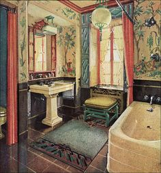 a nice touch of orientalism. I love it. [1929 Crane Bathroom - Asian by American Vintage Home, via Flickr]