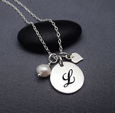 L Necklace Sterling Silver Cursive Letter L by themoonflowerstudio