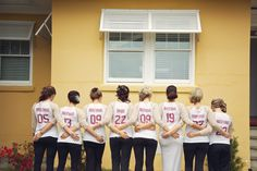 Love this idea. The bridesmaids surprised the bride with shirts that had the number of years they had each known her on the back. So cute! Photo by Taylor Rae Photography