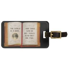 The World is a Book... Bag Tag - travel luggage tags personalize customize your name diy