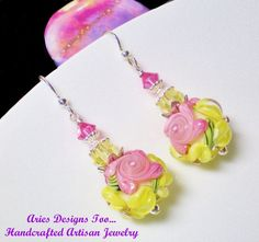 Pink and Yellow Floral  Garden Ball Earrings by ariesdesignstoo