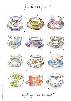 Art Print - Vintage Teacups - Kitchen Art - Illustration - China - from Original Ink and Watercolour Illustration