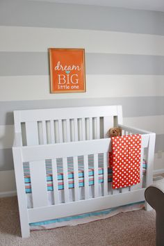 nursery striped accent wall