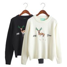 Women Winter Casual Sweaters 2016 autumn and winter Korean Harajuku Christmas deer elk cute sweater embroidered sweater woman(China (Mainland))