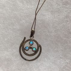 Turquoise & Silver Necklace Tiny silver chain with unique silver and turquoise pendant. KD Jewelry Necklaces