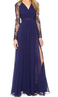 Blue V Neck Lace Sheer Pleated Dress