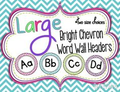 This packet contains bright chevron large word wall headers (A to Z) in two sizes: 7 inch and 5 inch. I sell the coordinating word wall cards in . Chevron Classroom, Classroom Setup, Future Classroom, School Classroom, Classroom Organization, Owl Classroom, Classroom Environment, Classroom Displays, Classroom Management