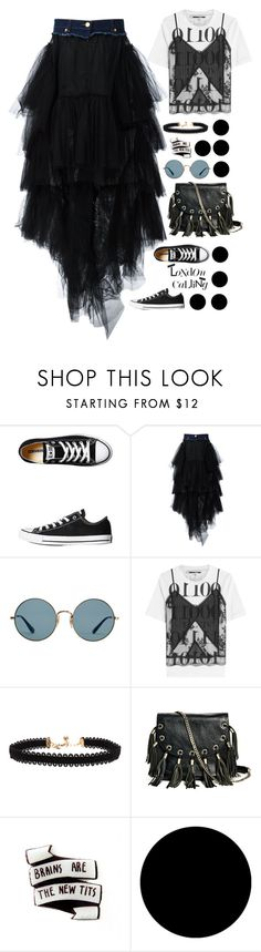 """""""Tulle to London"""" by afrodnc ❤ liked on Polyvore featuring Converse, Natasha Zinko, Ray-Ban, McQ by Alexander McQueen, Vanessa Mooney, GUESS by Marciano, Wall Pops! and Damaris"""