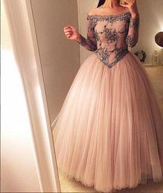 unique off shoulder tulle long prom dress, evening dress