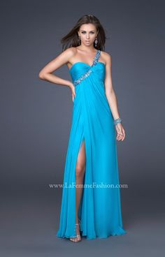 This dress is fit for a modern day diva! Wear this La Femme Chiffon gown to Prom and be the talk of the night! The one strap on this dress is stylish, yet provides support while you dance the night away at Prom! The back is cut out, which provides you with a sexy statement! Wear this fabulous dress in Aqua, Eggplant, Lavender, Navy, Pink, silver, Teal or White! Be sure to pair this dress with fabulous sparkling accessories to bring your look up a notch!