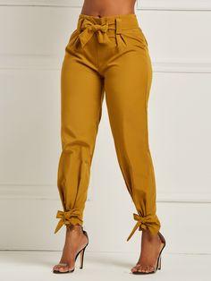 Bowknot Plain Slim Pencil Pants Full Length Casual Pants