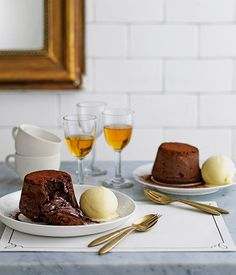 Dark Chocolate Moelleux with White Chocolate Ice Cream | Gourmet Traveller