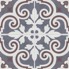 Vierermuster - Zementfliesen handwerklich gefertigt. Motif Design, Floor Design, Floor Patterns, Tile Patterns, Ceiling Tiles, Wall Tiles, Spanish Interior, Damask Stencil, Stencils