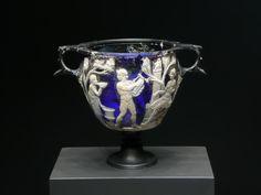 Cameo Glass Skyphos, Roman 25 B.C.- 25 A.D.